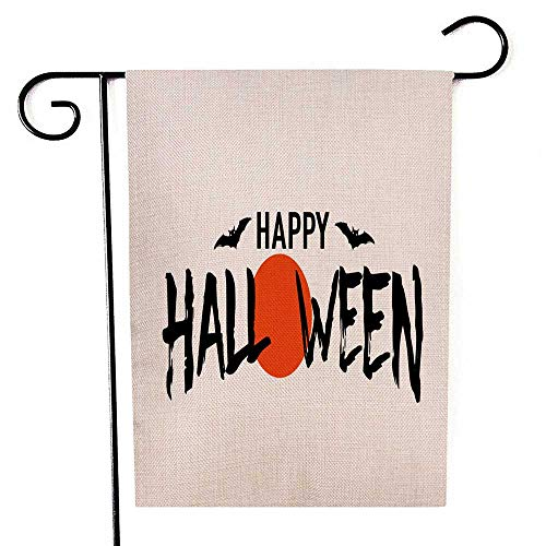 Funny Flags Halloween Pattern Double Sided Printing Garden Flag Bat Home American Holiday Seasonal Outdoor Flag 12.5 x 18 inch]()