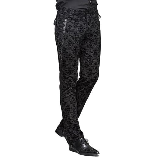 Devil Fashion Punk Men Cotton Dress Pants Victorian Printed Bandage Fascinating Men's Patterned Dress Pants