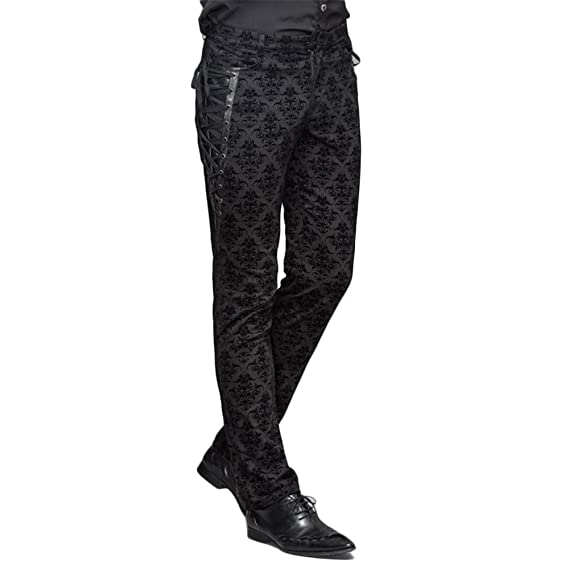 Men's Vintage Pants, Trousers, Jeans, Overalls Devil Fashion Punk Men Cotton Dress Pants Victorian Printed Bandage Bridal Pants $67.99 AT vintagedancer.com