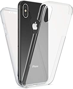 NALIA Full Body Case Compatible with iPhone X XS, Protective Front & Back Smart-Phone Hard-Cover with Tempered Glass Screen Protector, Slim-Fit Shockproof Bumper Thin Skin Etui, Color:Transparent
