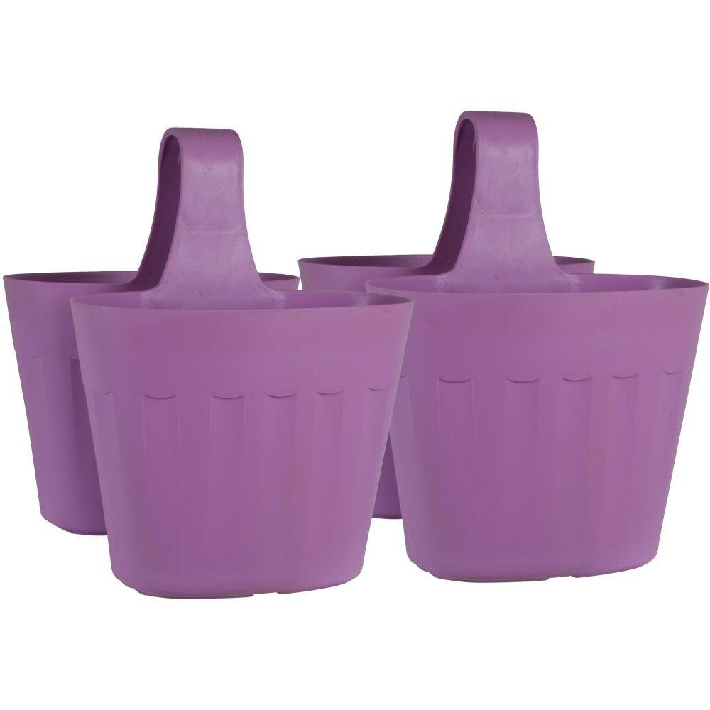 Pride Garden Products Mela 15 in. Lightweight, Frost-Proof, UV Resistant Large Rim Plastic Saddlebag Pot Container Rail Planter (2-Pack) in Lavender