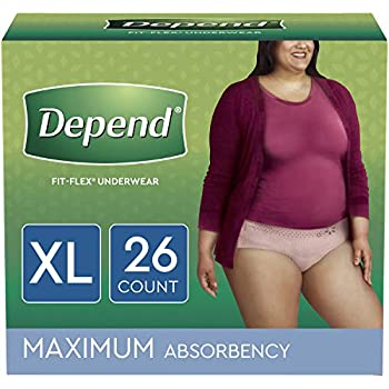 Depend FIT-FLEX Incontinence Underwear for Women, Disposable, Maximum Absorbency, X-Large, Blush, 26 Count