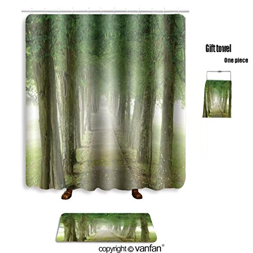 vanfan bath sets with Polyester rugs and shower curtain footpath through the misty promenade 35017327 shower curtains sets bathroom 72 x 96 inches&31.5 x 19.7 inches(Free 1 towel and 12 - Shops Promenade Map