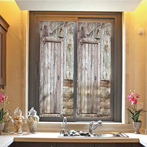 (Rustic 3D No Glue Static Decorative Privacy Window Films, Old Rustic Barn Door Cottage Country Cabin Theme Rural Mystic Entrance of Home Decorative,17.7