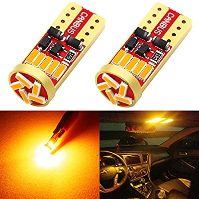 Phinlion 194 LED Amber Yellow Bulb Super Bright Wedge 168 2825 2827 T10 15-SMD 4014 Chipsets LED Replacement Bulbs for Car License Plate Dome Map Reading Courtesy Side Marker Lights: Automotive
