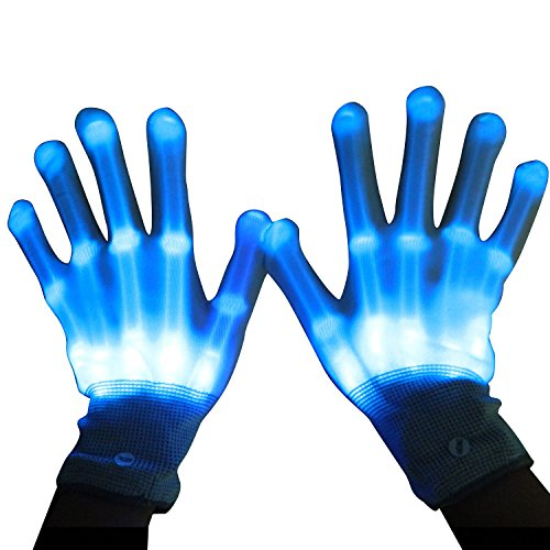 LED Gloves, Dealgadgets Light up Rave Gloves, Glow In The Dark LED Skeleton Gloves