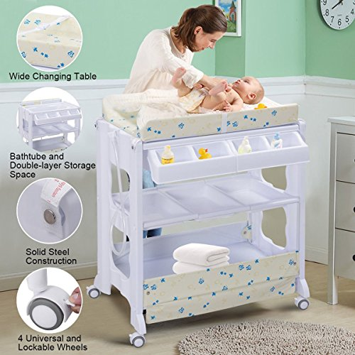 Costzon Baby Bath and Changing Table, Diaper Organizer for Infant with Tube & Cushion (Beige) by Costzon (Image #5)
