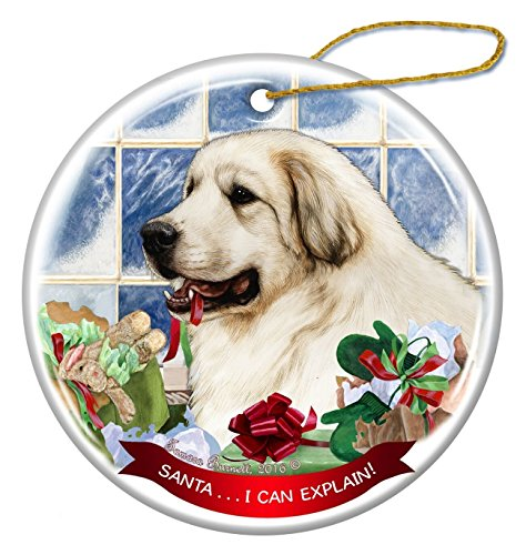 Great Pyrenees Dog Porcelain Hanging Ornament Pet Gift 'Santa.. I Can ()