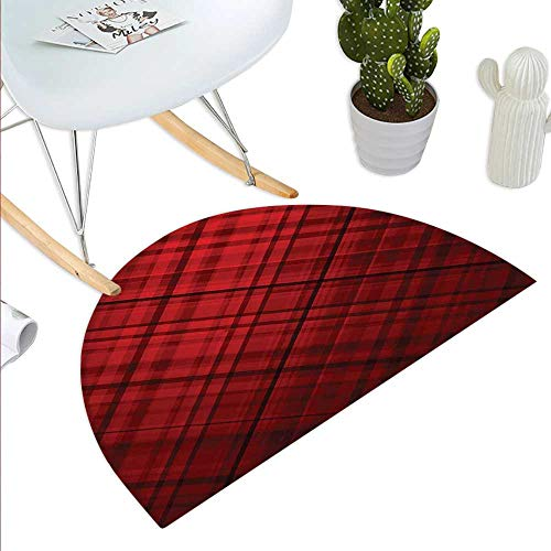 (Red and Black Semicircular CushionScottish Kilt Design Pattern with Stripes Lines Squares Ombre Image Entry Door Mat H 35.4