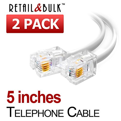 (2 Pack) 5 Inches White Telephone Cable RJ11 Male To Male 6P4C Phone Line (3 Inch Telephone Cord)