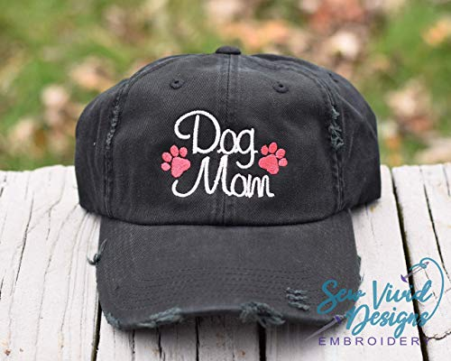 Dog Mom with Paw Prints High Ponytail Baseball or Trucker Cap ()