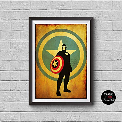 Civil War Artwork - The Avengers Captain America Minimalist Vintage Poster Avengers Collectibles Print Steve Rogers Chris Evans The First Avenger Winter Soldier Civil War Artwork Home Decor Wall Hanging Cool Gift
