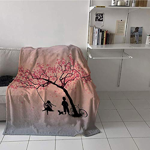 Khaki home Children's Blanket Microfiber Blanket for Sofa Couch Bed (60 by 62 Inch,Tree of Life,Children Playing on a Tire Swing Under Cherry Tree with Dog Blossom Spring Art,Pink Black