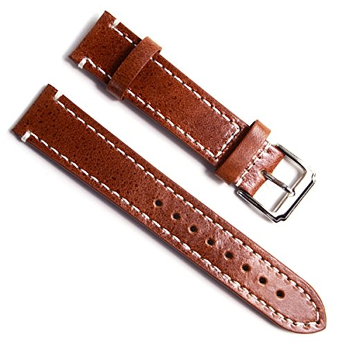 Handmade Vintage 18mm Leather Watch Band Strap Brown