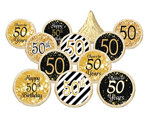 50th Birthday Party Favor Stickers - Gold and Black (Set of 324)