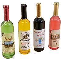 Botellas de vino 4pcs Dollhouse 1:12 miniatura botellas