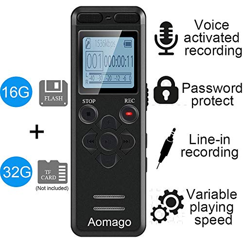 (16GB Digital Voice Activated Recorder for Lectures - Aomago 1160 Hours Sound Audio Recorder Dictaphone Voice Activated Recorder Recording Device with Playback,MP3 Player,Password,Variable Speed)
