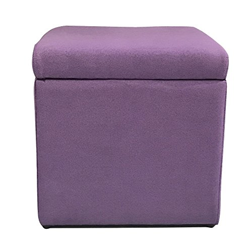 n Cube,Linen Fabric Upholstered Footstool Seat with lid Comfort Storage Box Living Room entryway -Purple 13''x13''x13'' ()