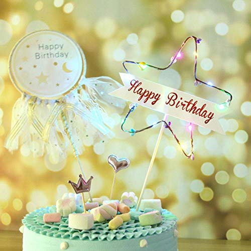 OOOUSE Birthday Cake Light Decoration Insert Insertion Topper With Built In