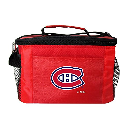 NHL Montreal Canadiens Insulated Lunch Cooler Bag with Zipper Closure, Red