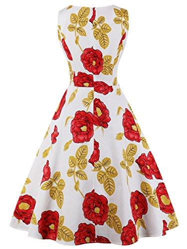 3XL Lunares Amarillas Blancas de Rojas 1950S Flores Vintage FAIRY 072 COUPLE Vestido Baile Rockabilly DRT072 qRISnzgOxw