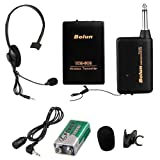 Cewaal Wireless Microphone UHF Headset Mic with Receiver 3.5mm plug for Church Home Karaoke Business Meeting Black