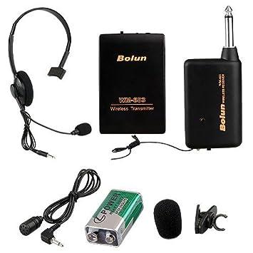 Cewaal Micrófono inalámbrico UHF micrófono del auricular con el receptor del conector de 3,5 mm para la Iglesia Inicio Karaoke Negocios Negro Reunión: ...
