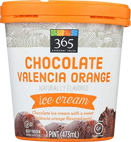 365 Everyday Value, Chocolate Valencia Orange Ice Cream, Naturally Flavored, 16 oz (Frozen)