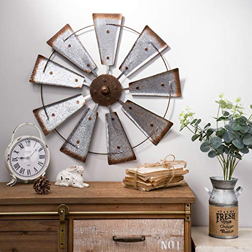 Glitzhome 22″ Farmhouse Galvanized Windmill Wall Sculpture Home Decor Rustic Metal Rustic Wall Art Decoration, Silver