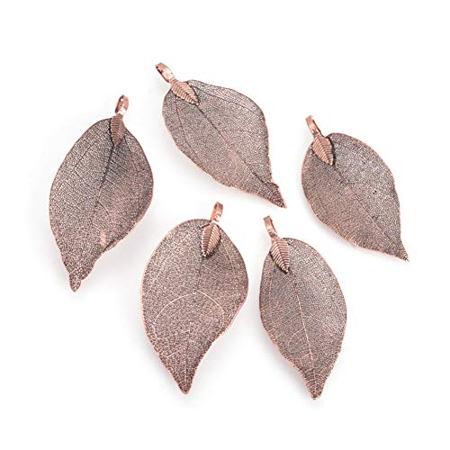Panadhall 10pcs Large Hole Natural Real Filigree Leaf Pendants Charms 1.97~3.15x0.79~1.38 Inch with Copper Plated Iron Bail for Necklace Jewelry -
