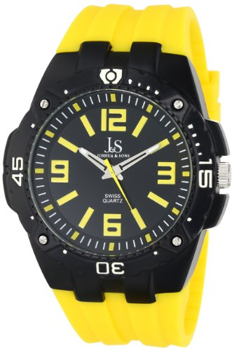 Joshua & Sons Men's JS-36-YL Bold Swiss Quartz Watch with Yellow Silicone Strap