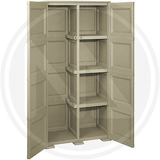 Armario escobero 2 puertas +, 49 x 73 x 164H Pardo – Made in Italy -- polipropileno: Amazon.es: Jardín