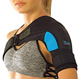 Compression Brace for Left or Right Shoulder by Zeegler Orthosis - Support and Recovery for Torn Rotator Cuff, AC Joint Injury, Frozen Shoulder, Labrum Tear, Sprains, Impingement & Our Premium EBook
