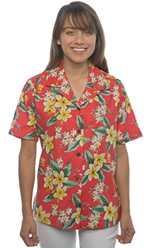 Benny's Womens Floral Plumeria and Orchids Hawaiian Shirt (S, Coral)