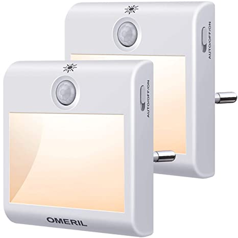 Luz Nocturna con Sensor de Movimiento, OMERIL 2 Pack Luz Nocturna ...