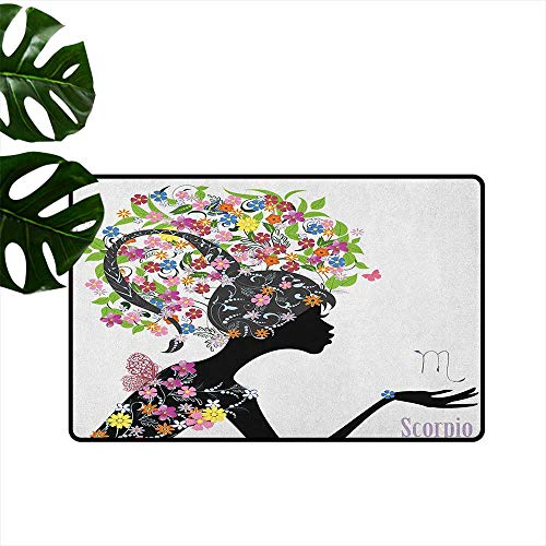Zodiac Scorpio Entrance Door mat Fashion Girl Silhouette with Colorful Blossoming Floral Dress and Hairstyle Hard and wear Resistant W35 x L59 -
