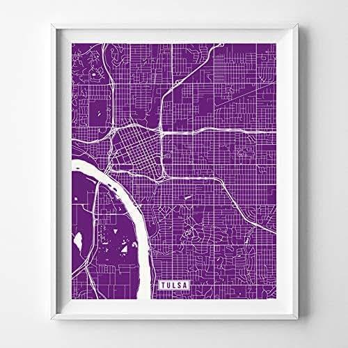 Home Decor Tulsa: Amazon.com: Tulsa Oklahoma Map Print Street Poster City