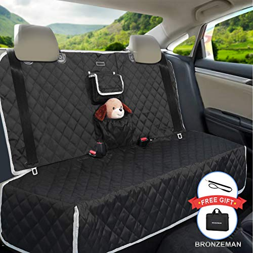 Dog Seat Cover for Back Seat - 100% Waterproof,Nonslip Bench Seat Cover Compatible for Middle Seat Belt | Strong & Durable, Multiuse,Fits All Cars | Bonus Gifts Pack Bag,Dog Leash, Buckle (Black) (Back Seat For Car)