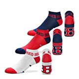 "For Bare Feet ""Money"" No-Show Ankle Socks 3 Pack - Boston Red Sox"
