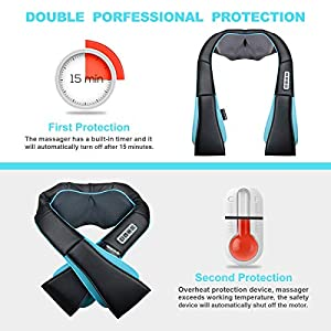 Neck and Shoulder Massager with Heat - Deep Kneading Massage for Neck, Back, Shoulder, Waist,Legs and Feet - Shiatsu Neck Massager for Relieving Muscle Pain and Stress, Perfect for Home, Car, Office