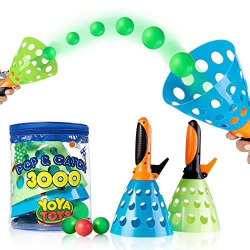 YoYa Toys Pop & Catch Launcher Basket With 3 Balls | For Girls, Boys, Adults, Indoors & Outdoors | Promote Fine Motor Skills, Improve Kinesthetic Learning & Hand To Eye Coordination | In A Carry (Ball Launcher Toss Toys)