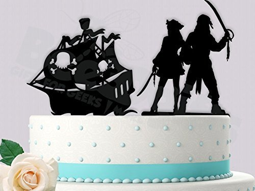 Pirate Couple with Ship Wedding/Anniversary Cake Topper