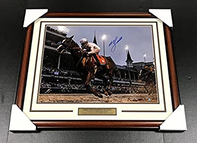 Mike Smith Autographed Justify Kentucky Derby Framed 16x20 Photo Coa - Steiner Sports Certified - Autographed Horse Racing Photos