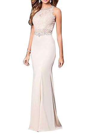 Women s Trumpet Party Dresses Beaded Mermaid Prom Dresses Applique Lace Evening  Dresses Champagne 61618d5df3