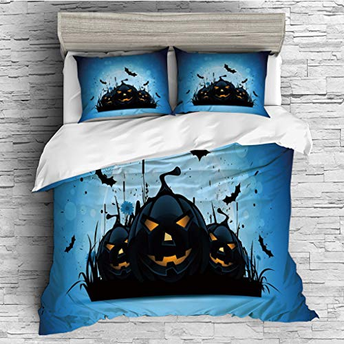 3 Pieces (1 Duvet Cover 2 Pillow Shams)/All Seasons/Home Comforter Bedding Sets Duvet Cover Sets for Adult Kids/Singe/Halloween,Scary Pumpkins in Grass with Bats Full Moon Traditional Composition Deco ()