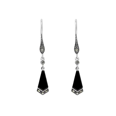 a40a54974 Esse Marcasite Sterling Silver Art Deco Kite Shaped Black Onyx with  Marcasite Detail Dangle Earrings: Amazon.co.uk: Jewellery