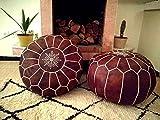 Set of 2 Leather poufs, ottoman luxury tan floor poufs, moroccan home decor