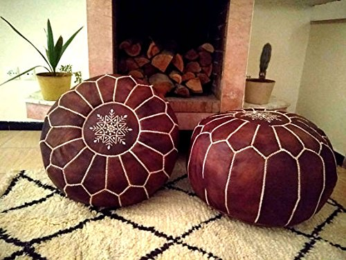 Set of 2 Leather poufs, ottoman luxury tan floor poufs, moroccan home decor by HANDMADE