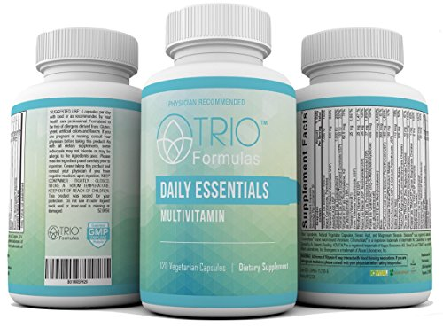 Doctor Recommended Daily Essentials Multivitamin and Mineral Supplement for Men and Women, Active Form Vitamins, Hypo-allergenic, Non GMO, Preservative Free, Gluten Free, 120 Vegetarian Caps. ()