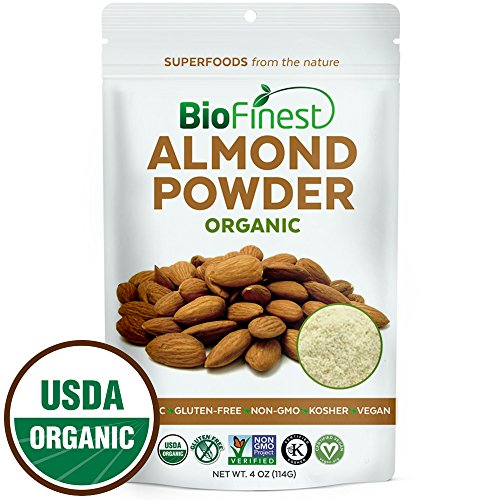 Biofinest Almond Powder - Extra Fine Ground - 100% Pure Antioxidants Superfood - USDA Certified Organic Vegan Raw Non-GMO - Boost Digestion Weight Loss - For Smoothie Beverage (4 oz Resealable Bag) - Powder Almond